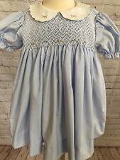 Petit Ami Smocked Dress Light Blue 9m Pink Rosebuds Trim Short Puffed Sleeves