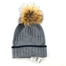 IL BORGO Wool Cashmere Genuine Fur Cable Knit Beanie Winter Hat Mens OS NWT $168