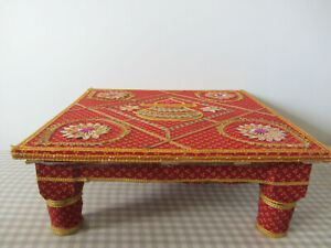 "Indian Wooden Colourful Footstool Stool Handmade Decor Furniture Art 15"" Square"