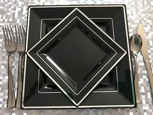 "Square Black Disposable Plastic Plates Silver Rim 30 Packs 15(9.5"") & 15(6.5"")"