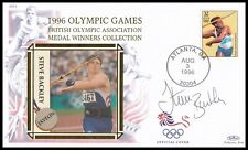 STEVE BACKLEY OBE Signed 1996 Olympic Games Medal Winners Benham Cover
