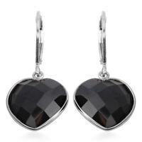925 Sterling Silver Black Spinel Lever Back Heart Earrings for Women Ct 9.5
