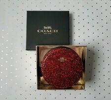 Coach ♡ GLITTER LEATHER ROUND COIN CASE ~ Red / Gold ♡ 77965B  NWT + Gift Boxed