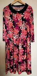 Kim & Co Brazil Jersey 3/4 Sleeve Contrast Collar Flared Dress, 3XL, Blackberry