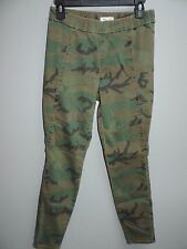 Silence + Noise Pants Camo Green Straight Slim Skinny Leg Stretch Fit MEDIUM M