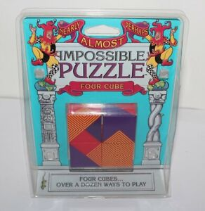 Nearly Almost Perhaps Impossible Puzzle Four Cube Brand New 1994 8+ Binary Arts