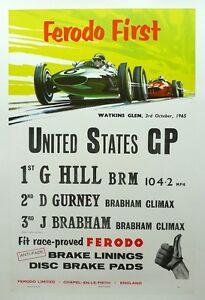 1965 US Grand Prix Watkins Glen Graham Hill wins,Gurney, Brabham Ferodo ORIGINAL
