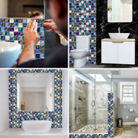 KQ_ KE_ Am_ 18Pcs Mosaic Tile Wall Sticker Waterproof Anti-Oil Kitchen Bathroom