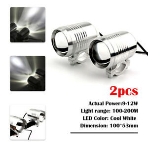 HMmotor 2x 30W U2 LED Motorcycle Bike Flash Strobe Spot Head Light 1500LM Silver