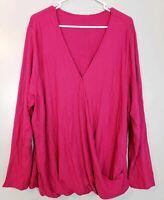 Ava & Viv Women's Top Pink Long Sleeve V-Neck Blouse Shirt Sizes X 1X 3X 4X