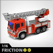 Fire Truck Toy With 1:16 Friction Powered Lights & Sound Push & Go Friction Gift