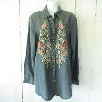 Feathers By Tolani Floral Embroidered Top M Medium Tencel Chambray Denim