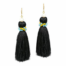 Trendy Cultured Pearl & Colorful Quartz Stone Black Tassel Dangle Earrings