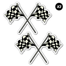 2x Racing Checkered Flags Vintage Sticker Decal Car Automotive Fuel Racing #7...