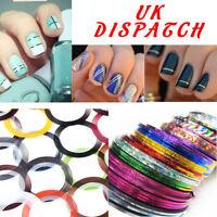 20X Colour Rolls Nail Art Lace Tape Line Strips False Nails Decoration Stickers