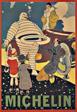 Art ad Michelin 1914 Neumáticos Neumático Hombre Deco cartel impresión