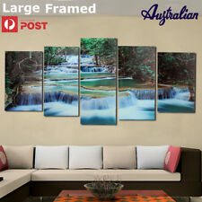 LARGE Framed Forest Waterfall Canvas Print Painting Pictures Home Wall Art Decor