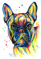 French Bulldog art print painting Bull Dog Birthday Gifts Frenchie - Size Option