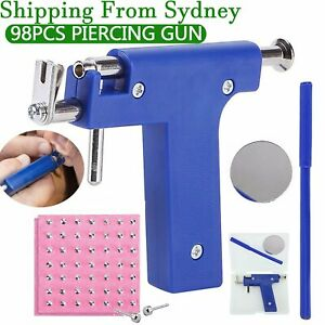 Pro Steel Ear Nose Navel Body Piercing Gun Kit Tool Set with Pack Of 98 Studs AU