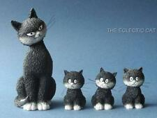"""""""CATS IN A ROW"""" Mom Cat & Three Kittens Statue Sculpture Artist Dubout France"""