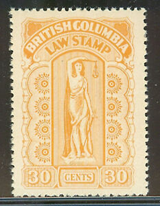 British Columbia #BCL38, 1942-1948 30c Law Stamp - Eighth Series Revenue NH