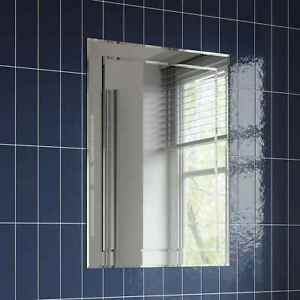 Bathroom Mirror Plain Rectangle Luxury Frameless Bevelled Wall Mounted 500x700mm