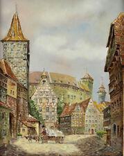Klaus Rochel (German, 1936-?) Oil painting Cityscape village street scene