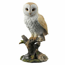 "7.5"" Barn Owl On Branch Nature Wildlife Animal Statue Collectible Wild Bird"