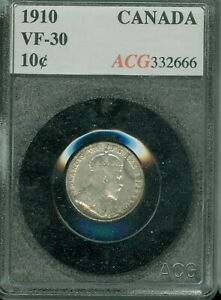 1910 CANADA 10 CENTS CERTIFIED VERY FINE PLUS PLUS