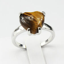 Tiger Eye Gemstone Fashion  Jewelry 925 Silver Men Women Ring Size 8
