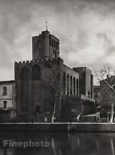 1927 Vintage FRANCE Agde Cathedral River Monument Architecture Photo ~ HURLIMANN