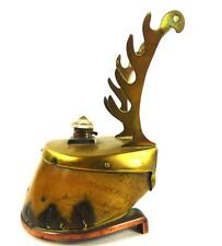 ANTIQUE HORSE HOOF TAXIDERMY INKWELL INKWELL & PEN HOLDER