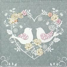 4x Paper Napkins -Taupe Turtle Doves- for Party, Decoupage Craft