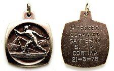 Medaglia 1° Trofeo Ceramica Santerno Spa Cortina 1976 cm 3,8 x 3,2
