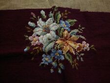 Antique Hand Embroidered Needlepoint Wool Floral