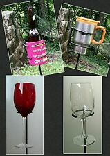 2 Outdoor Wineglass & 2 Universal Cup Holder (Beer, Mug, or Cup) Blacksmith Made