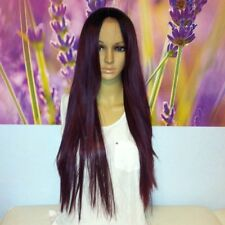 Ombré dark roots to maroon red wine red  lace top  front wig 26'' straight.