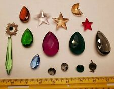 New listing Lot 15 Pc Colored Glass Crystal Pendant Prisms Mixed Sizes Shapes