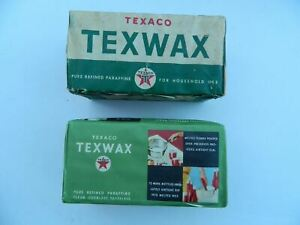 Vintage Texaco (2) Texwax Pure Refined Paraffine Wax Packages 1 lbs. 1960's