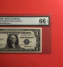 1935F -$1 SILVER CERTIFICATE NOTE,GRADED BY PMG GEM UNC 66 EPQ.