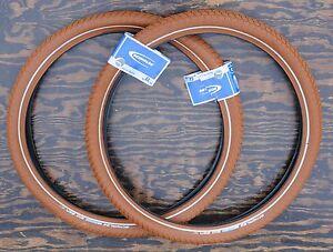 """26""""x2.15 Red Brown Schwalbe BB Cruiser Bicycle Tires Vintage Schwinn Prewar Bike"""