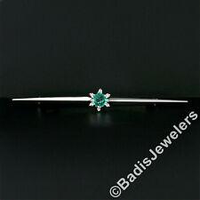 Vintage 18k White Gold Round Emerald & Diamond Halo Cluster Knife Edge Bar Pin