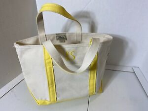 LL Bean Cotton Canvas Yellow Ivory Medium Boat & Tote Bag Monogramed