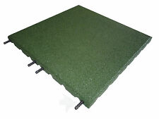 Green Rubber Tiles 1 SQM - 500 x 500 x 30mm -Playground-Gymnasium-Interlocking