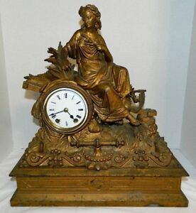 Antique Rare 1872 Seth Thomas And Sons Mantel Clock Titled Harvest Goddess Works