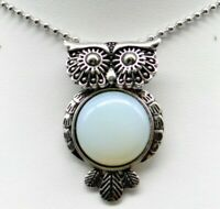 fashion Opal Gem beads animal Owl Retro Silver Pendant necklace Jewelry P2