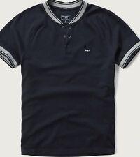 NWT Abercrombie & Fitch Raglan Baseball Henley Tee Short Sleeve Navy Large