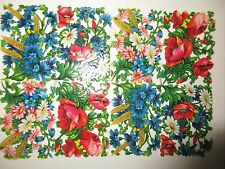 VINTAGE GERMANY PAPER SCRAPS DIE CUT LITHOGRAPHED =COLORFUL FLOWERS=PZB 1107