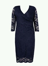 Evans Grace Navy Lace Ruched Midi Dress - BNWT - Plus Size 16