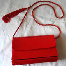 Vintage 70s RETY Couture Red Bakelite? Leather PURSE Shoulder Bag X Body, Tassel